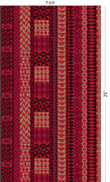 Red Tan Black Tribal Lines Poly Cotton Fabric
