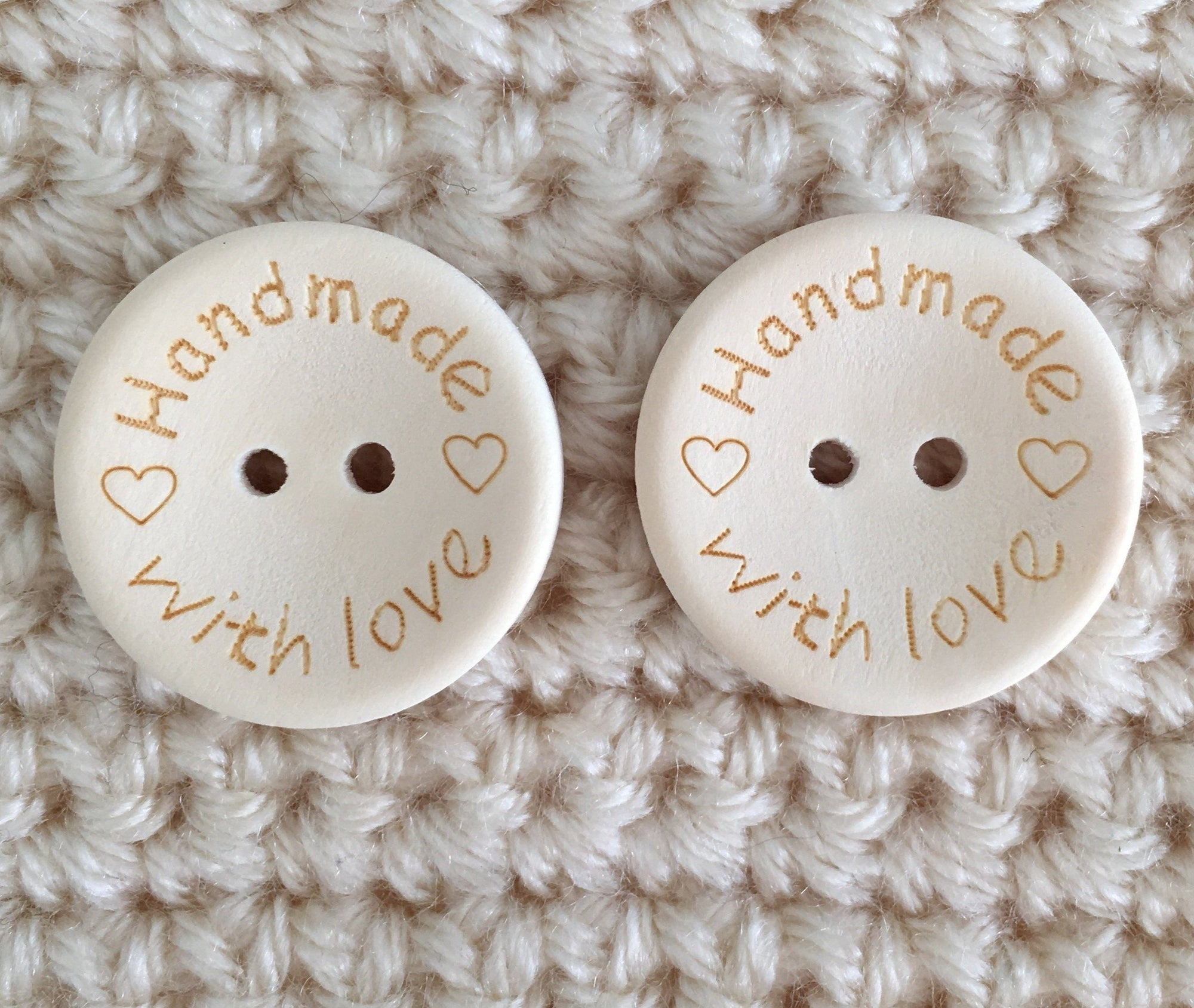 Buttons- 'Handmade with Love'