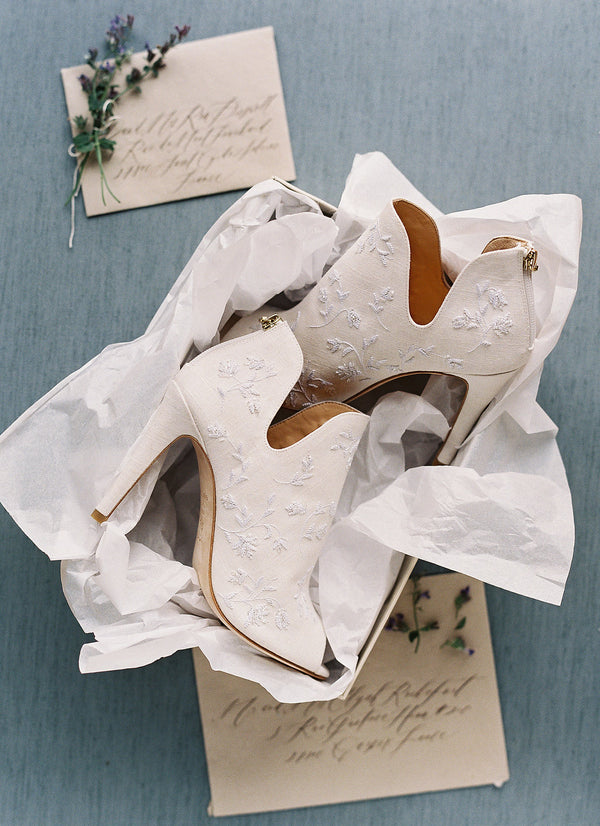 bella belle white linen wedding booties peony by joy proctor