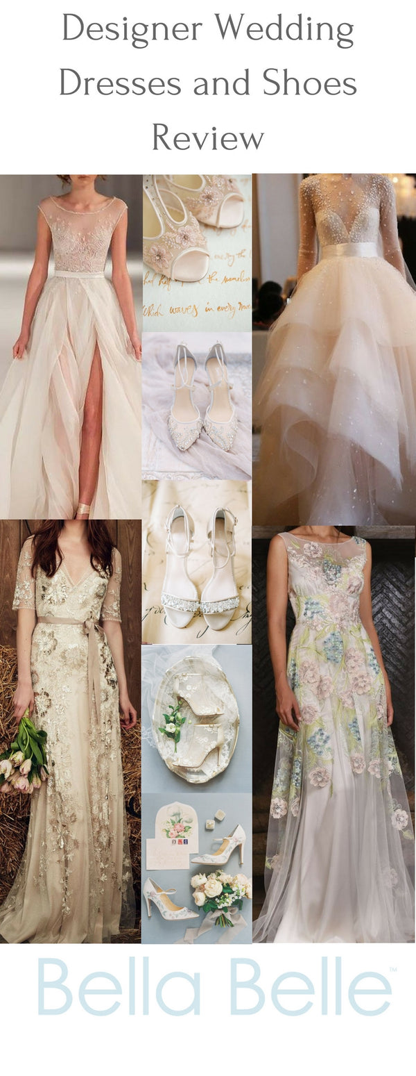 Designer wedding dress and shoe review