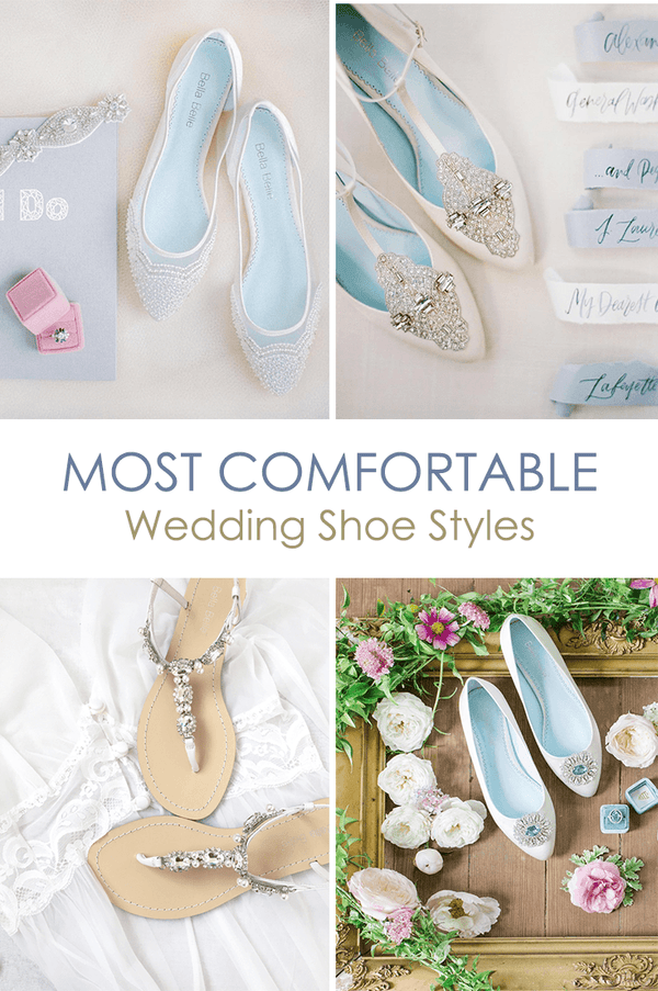 Most Comfortable Wedding Shoe Style, wedding flats, sandals and low heel options for the vintage, classic, traditional, simple, beach and boho brides.