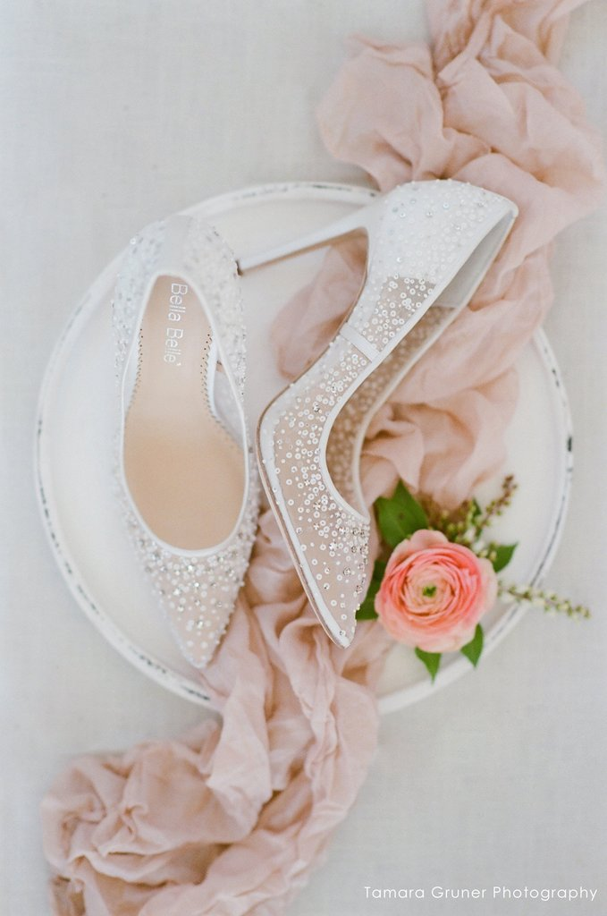 bella belle elsa ivory sequined crystal designer wedding shoes