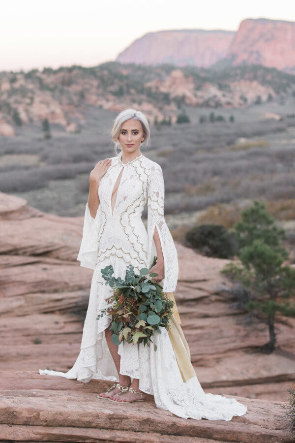Desert Bride wearing Agatha by Bella Belle