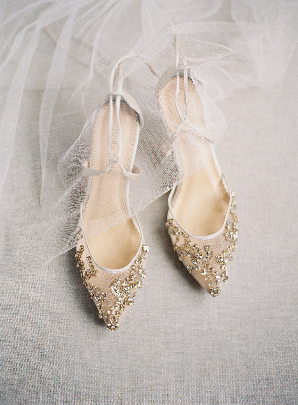 bella belle frances champagne jewel low heel wedding shoe