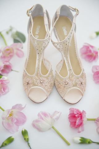 Bella Belle Paloma Blush Beaded 3D Floral Embroideries Romantic Modern Cinderella Slippers Wedding Shoes