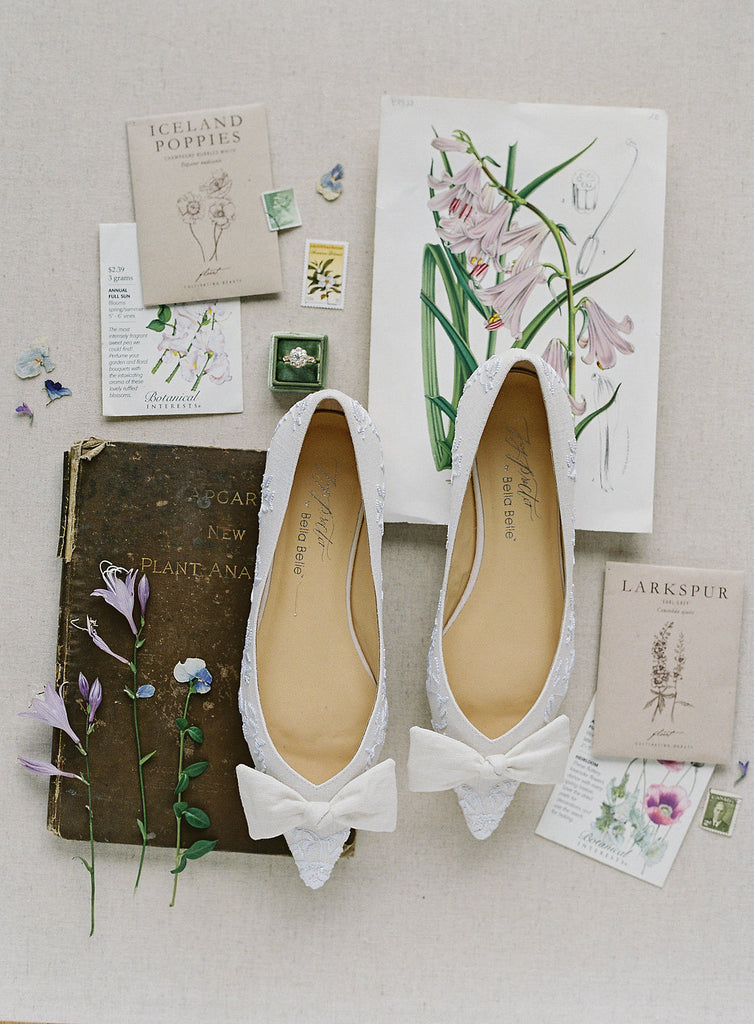 Joy Proctor for Bella Belle Lavender Embroidery Linen Flats with Bow