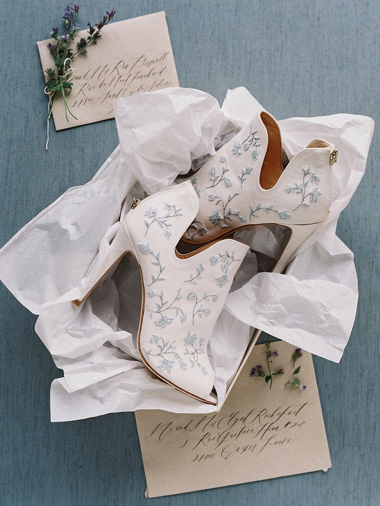 bella belle peony french blue embroidered wedding booties