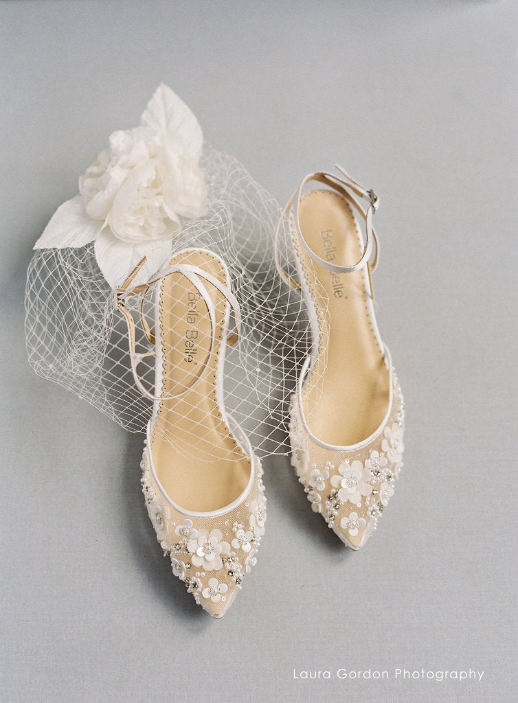 Bella Belle Rosa Kitten Heel Ivory Pearl Wedding Shoe