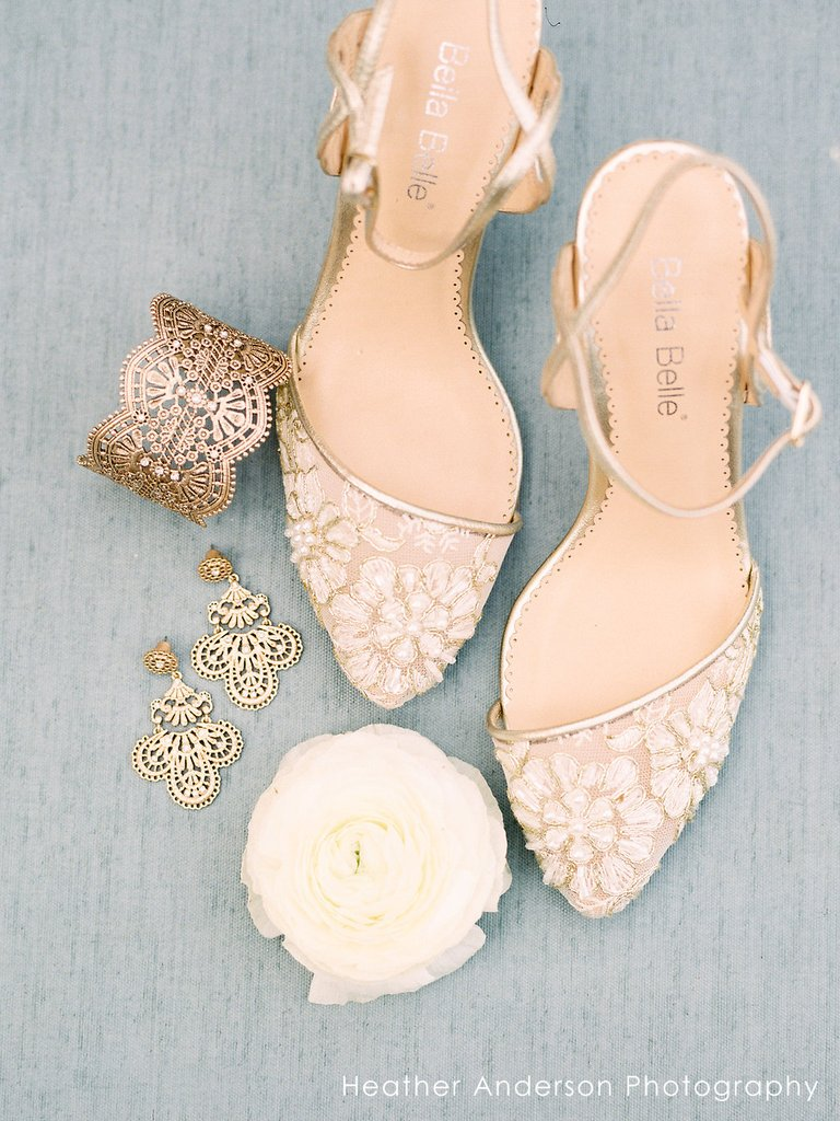 bella belle madeline low heel lace gold dress shoe