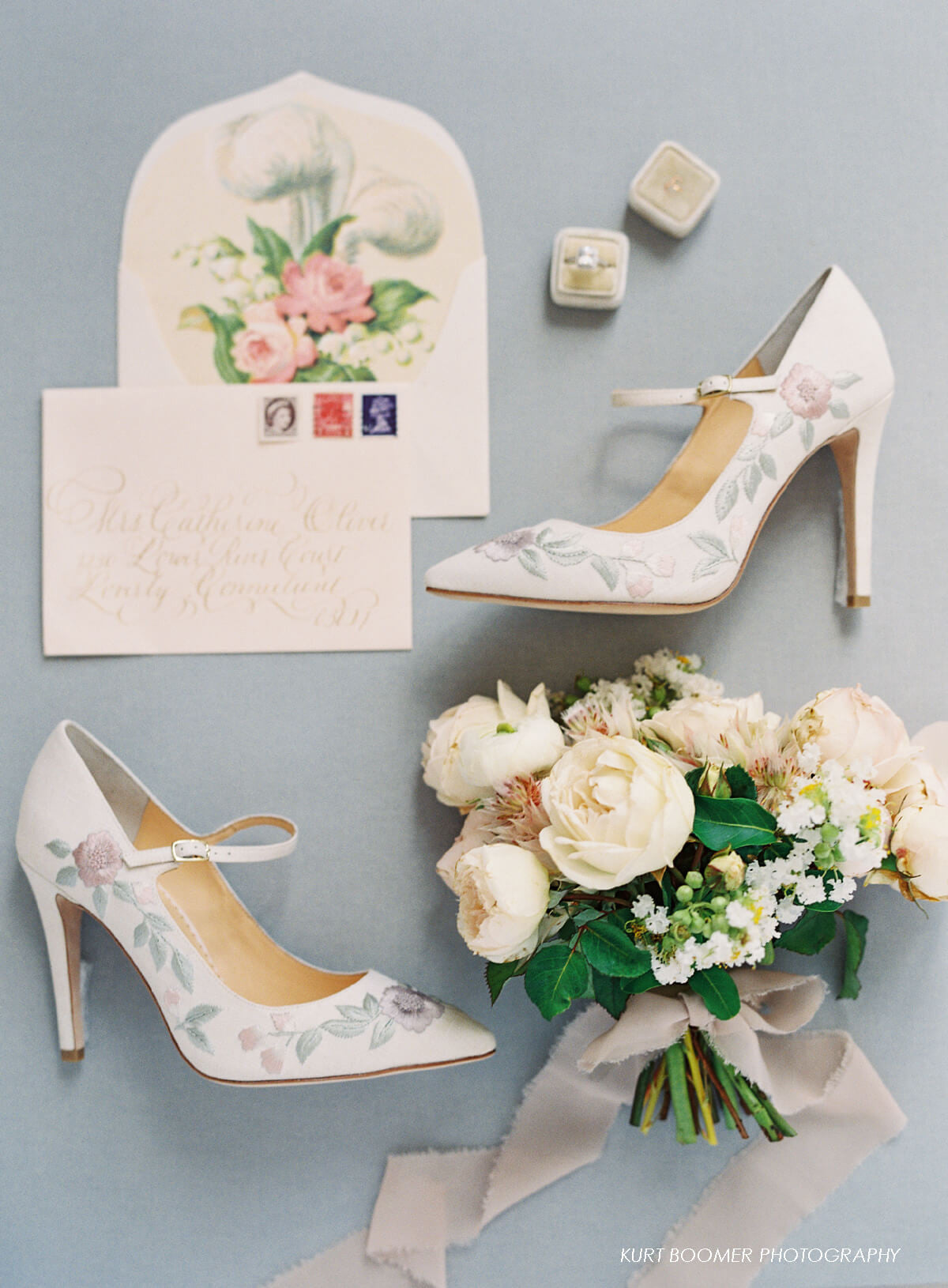 Pastel flower embroidered mary jane wedding shoes