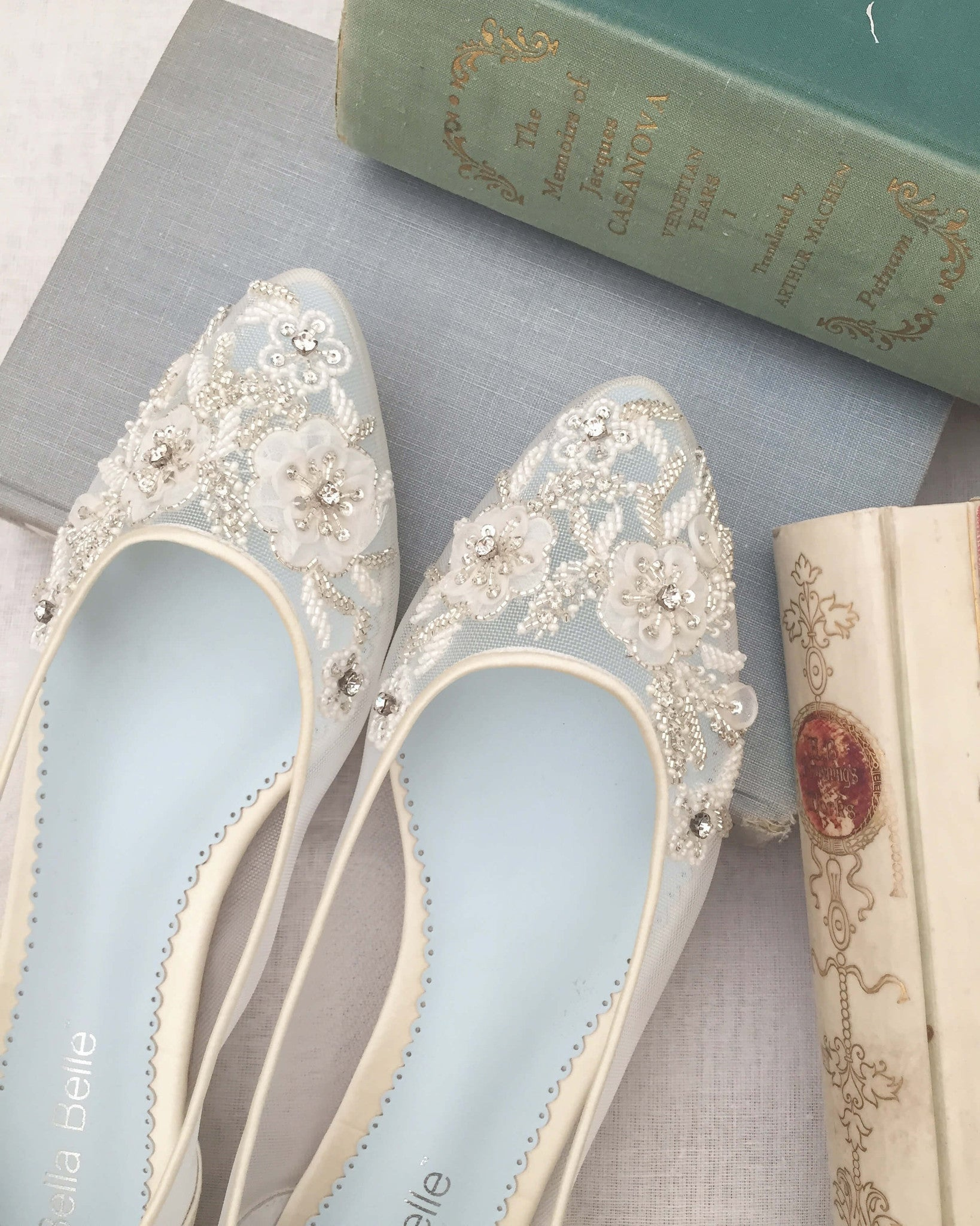Flower Beaded sheer and comfortable wedding flats