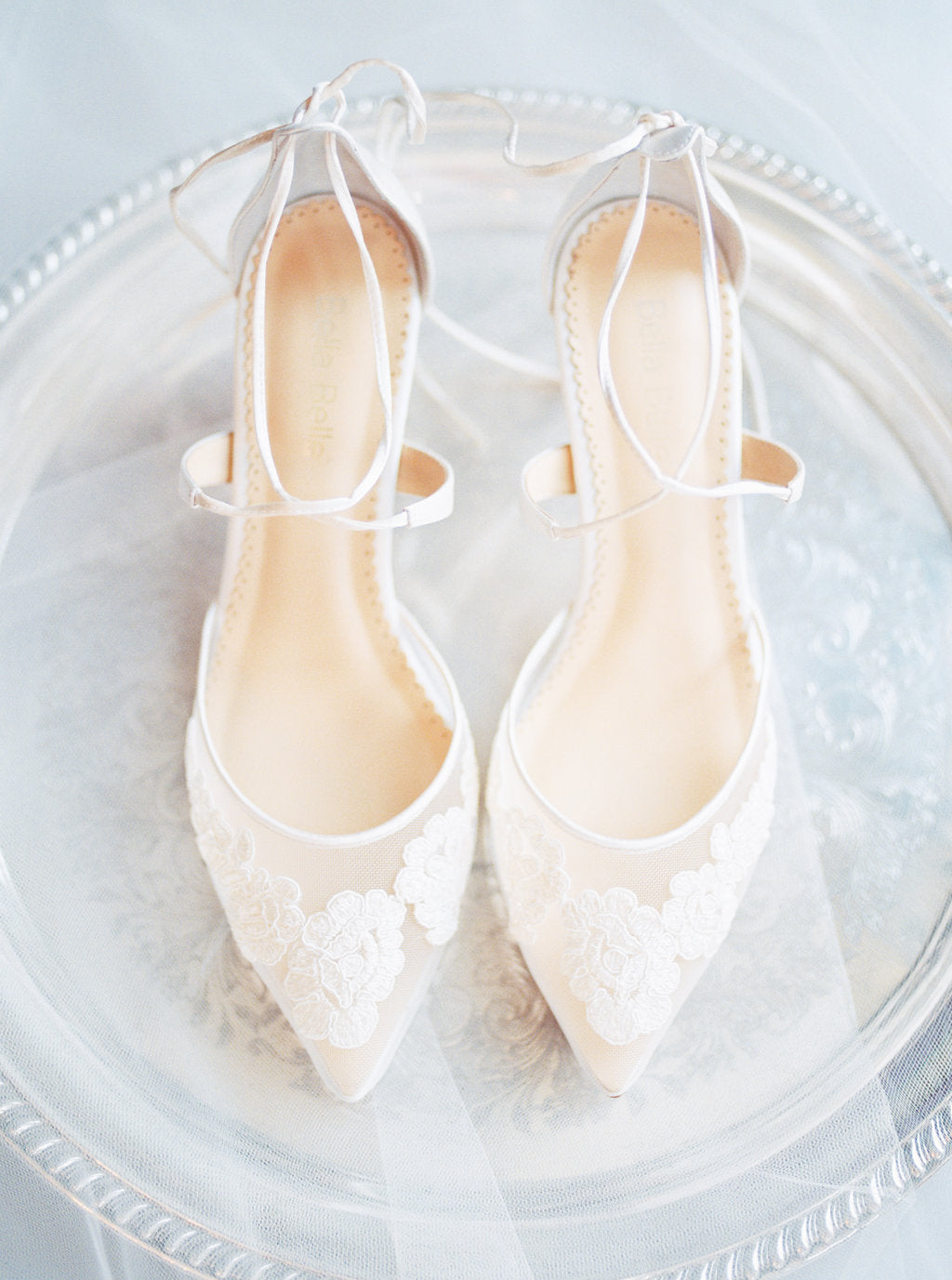 bella belle shoes amelia ivory floral lace wedding low heel kitten heel