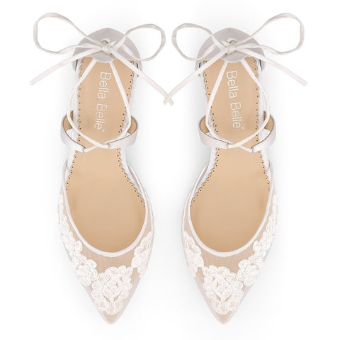 df94ff8e6 Wedding Comfortable Low Heel Amelia is white, has floral patterns, lace, an  ankle. Above: Amelia heels