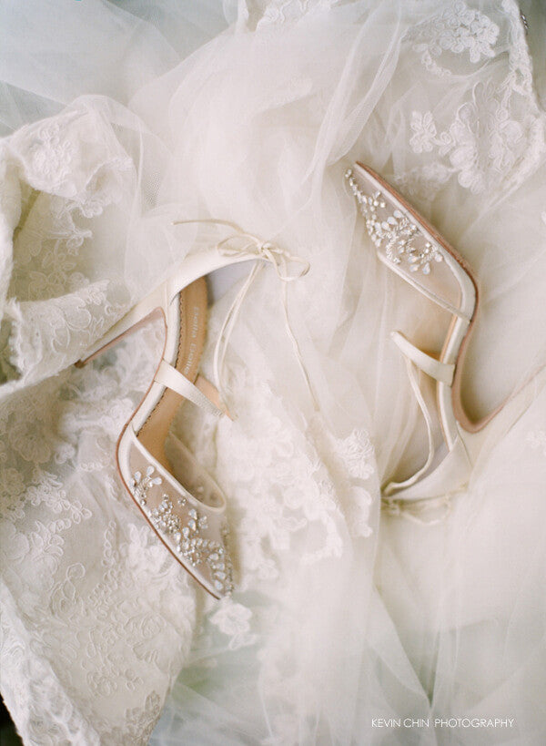 Crystal beaded wedding heels