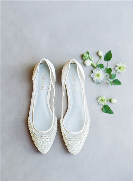Bella Belle Hailey pearl comfortable wedding flats