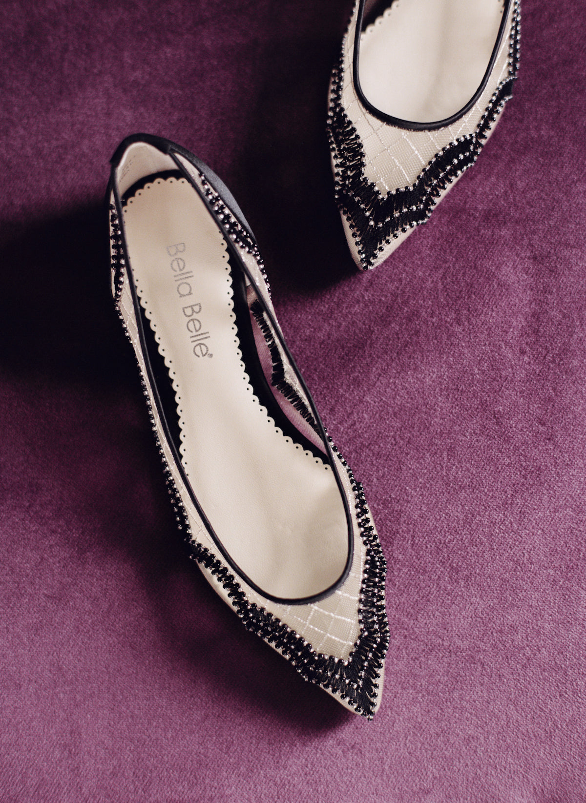 Bella Belle eva scalloped beaded black flats