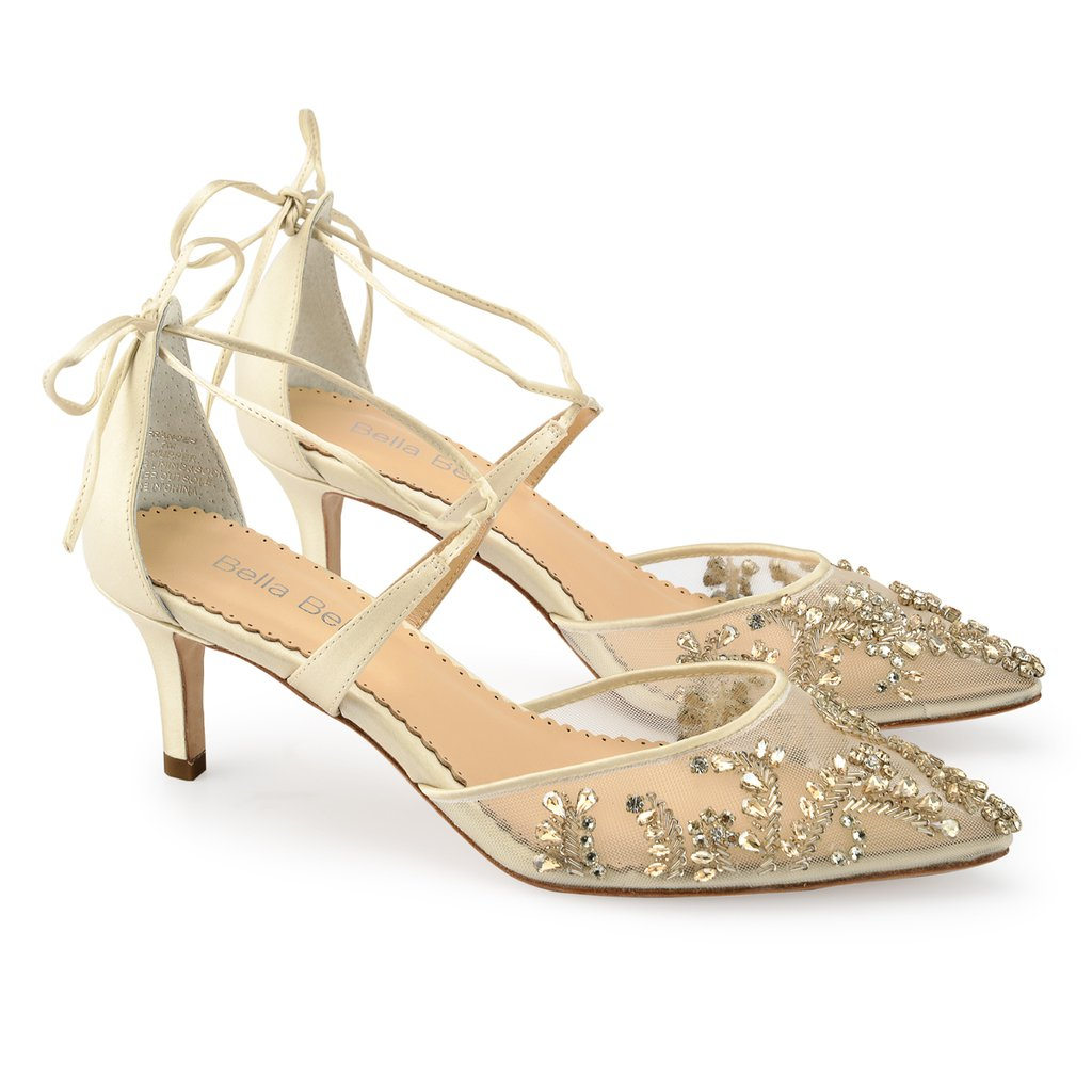 9725dc44ed1 Frances champagne crystal embellishment ankle strap wedding low heel