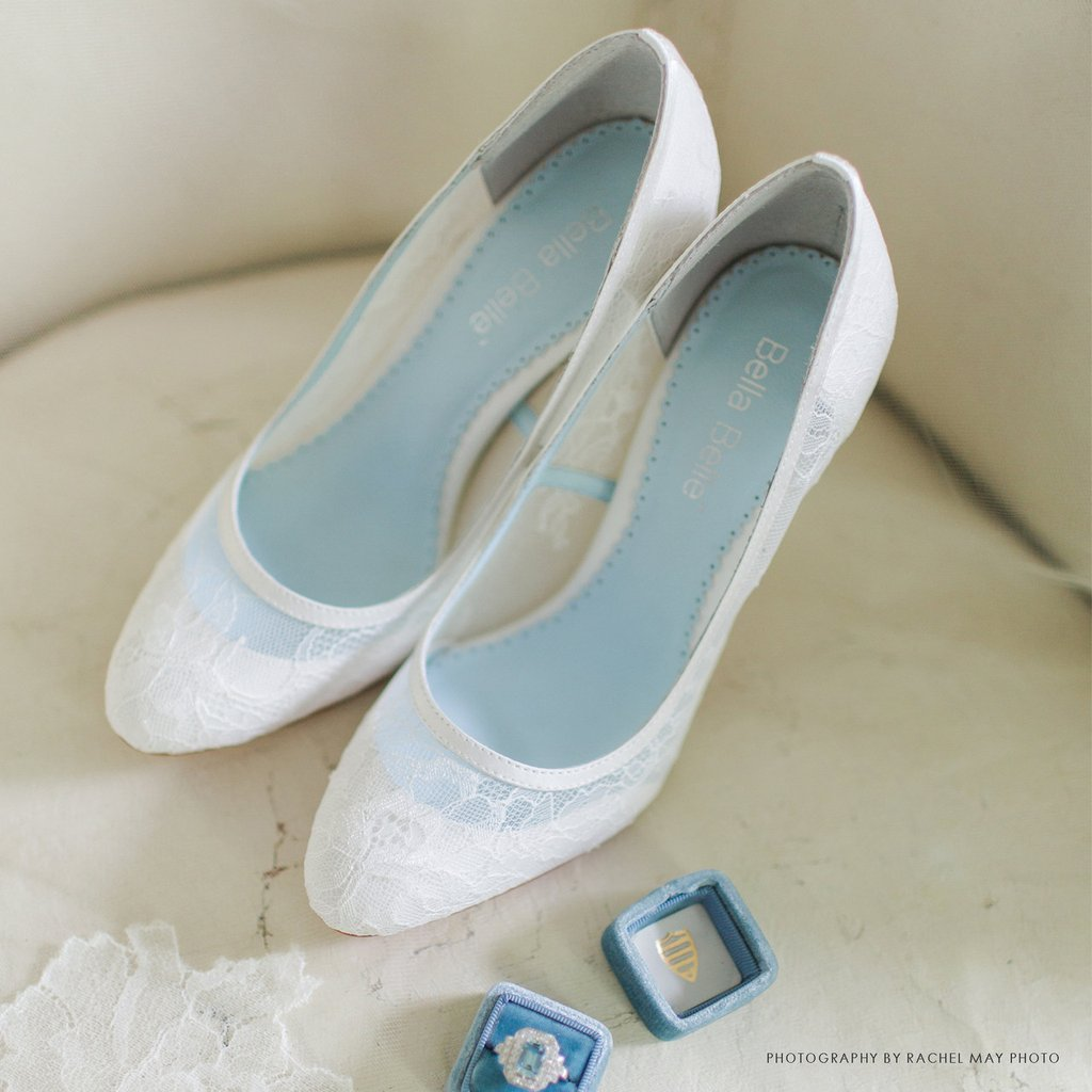 bella belle millie white lace wedding shoe pumps