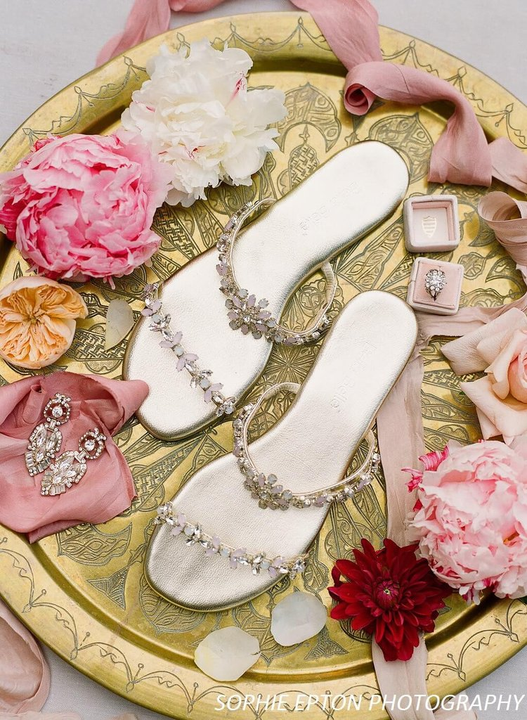 57203bb69 bella belle jules blush and gold bridesmaid sandals. '