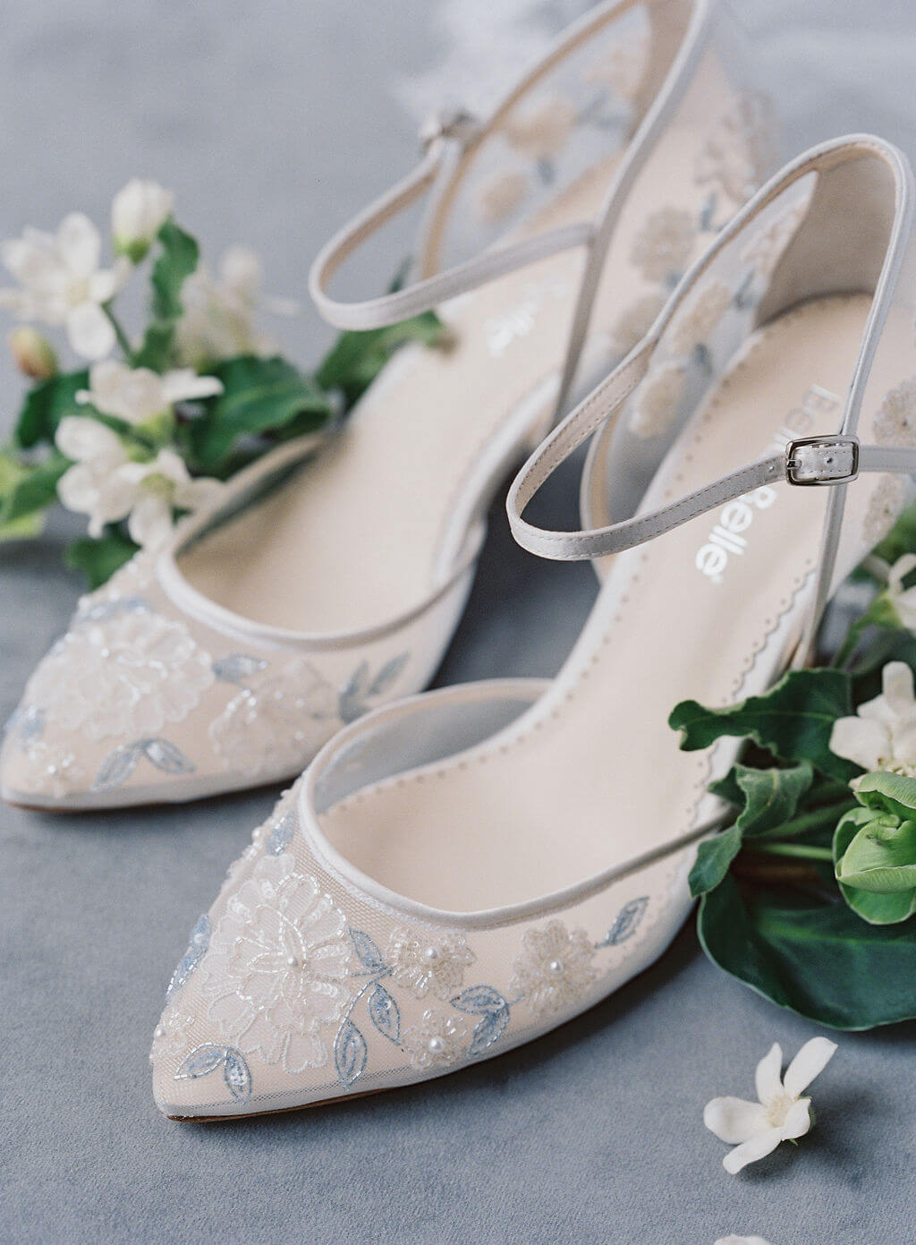 Bella Belle beach wedding shoes blue wedding block heels