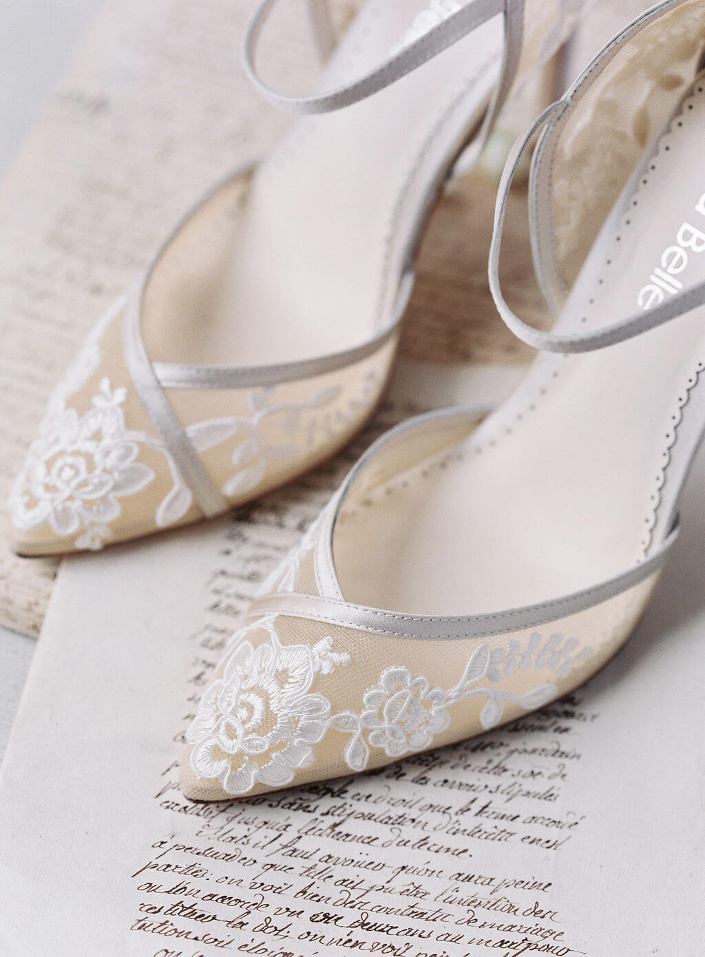 Bella Belle beach wedding shoes nude lace block heel
