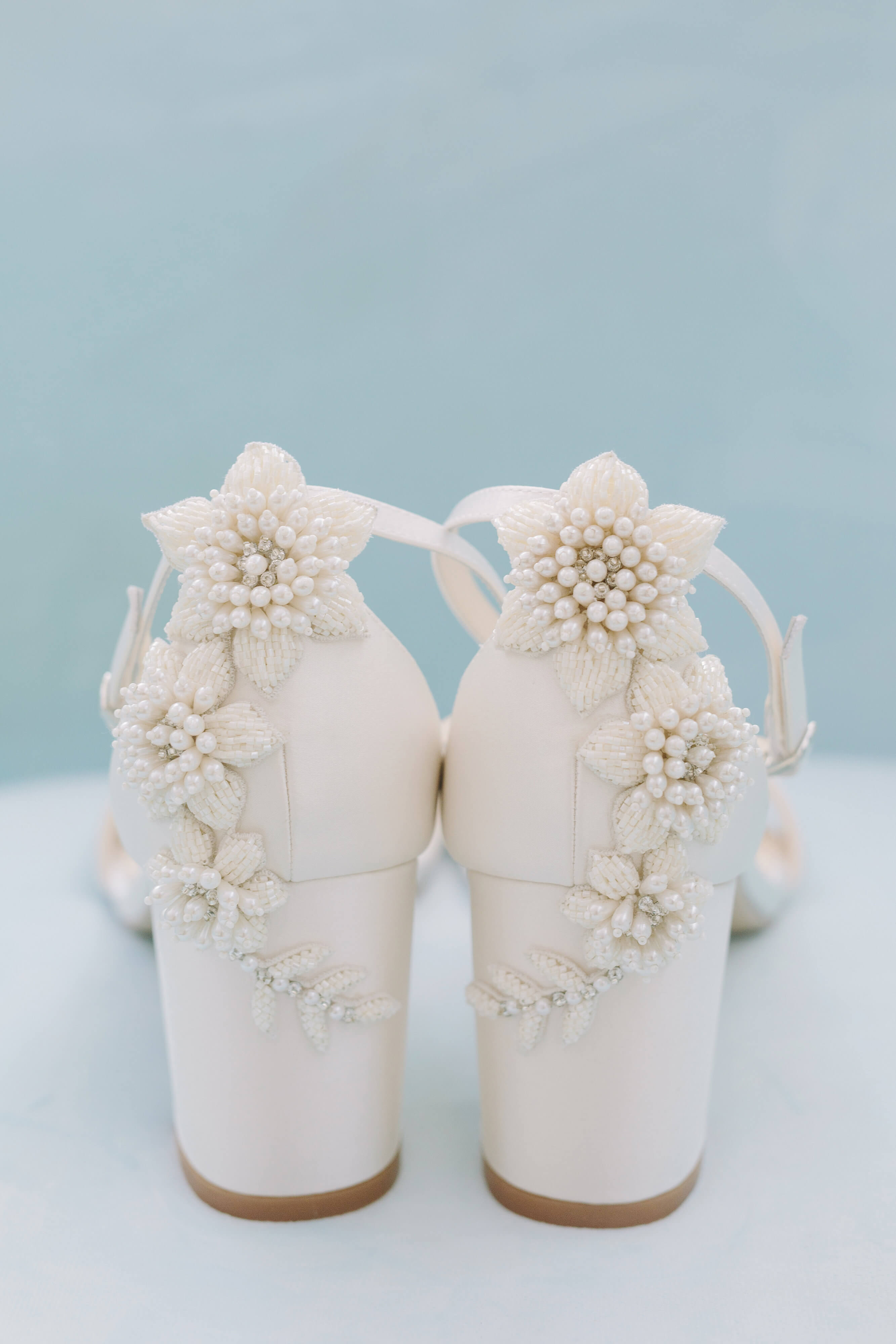 Bella Belle beach wedding shoes beaded block heel