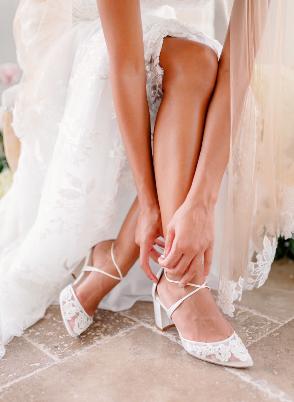 Bella Belle beach wedding shoes lace wedding block heel