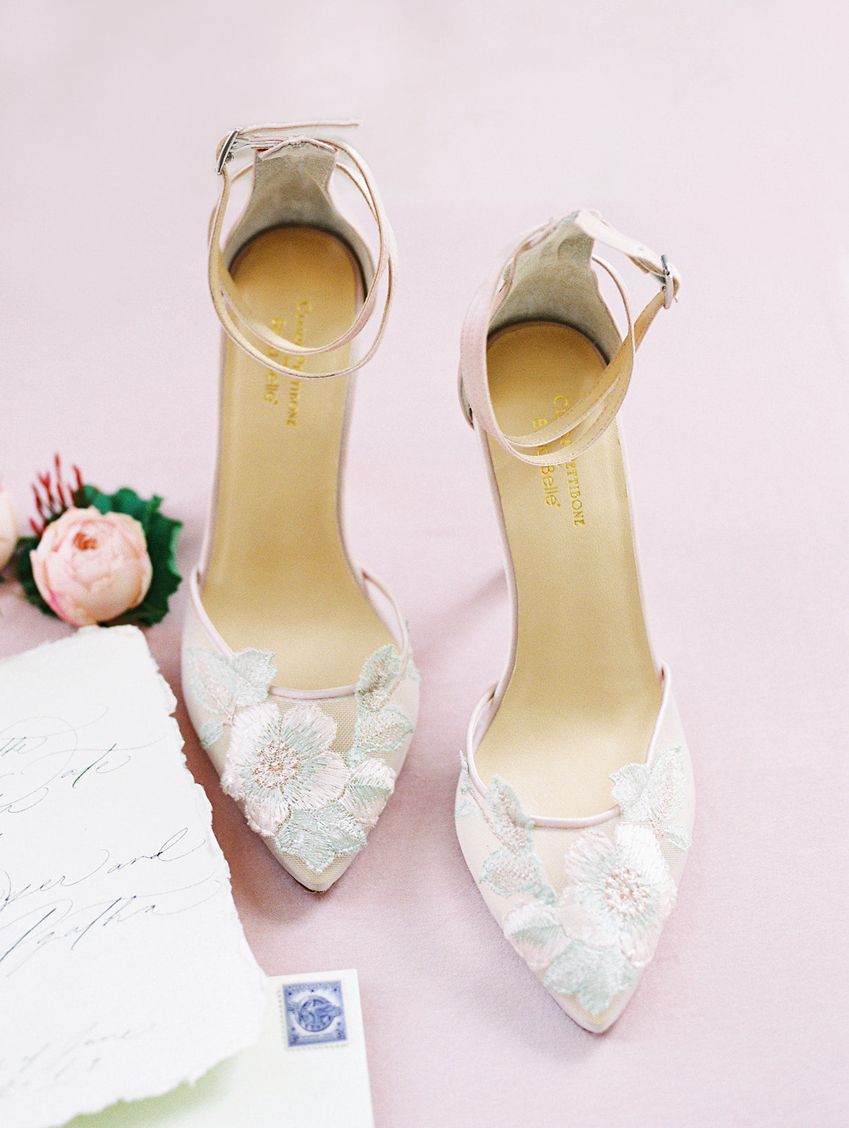 Bella Belle blush flower embroidered wedding heel