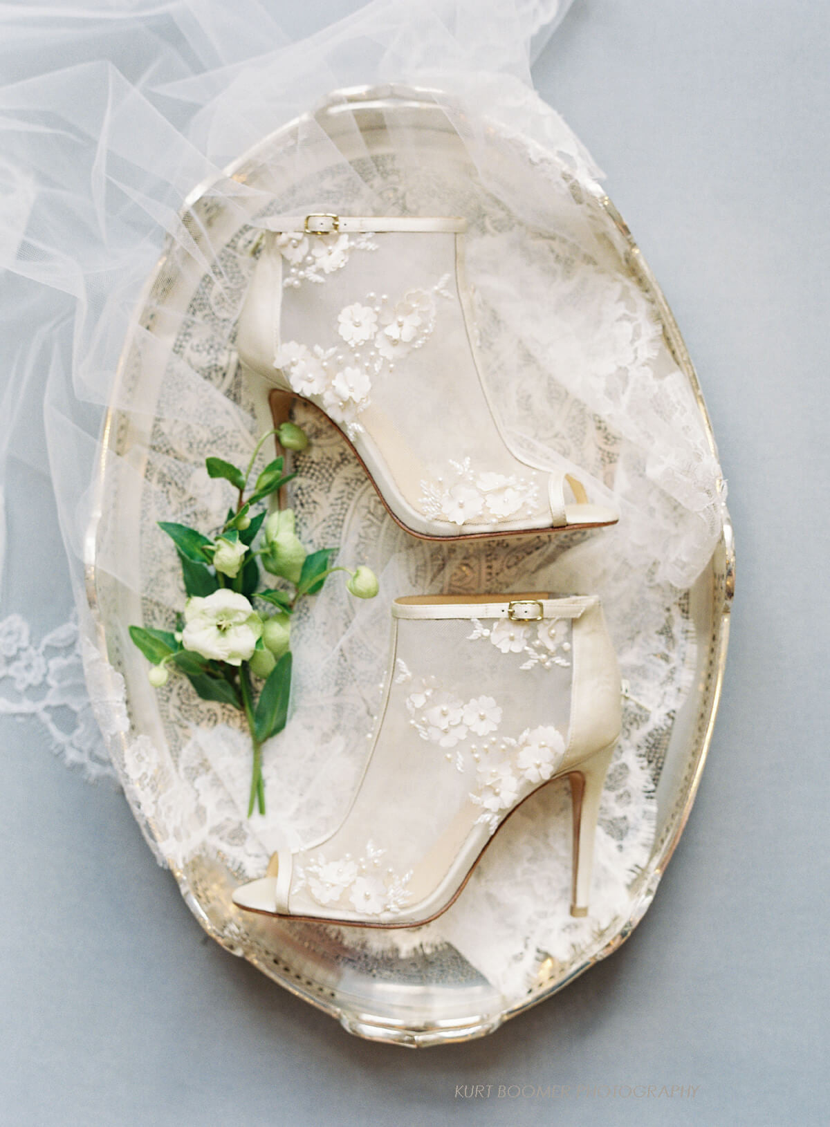 Wedding boots with flower details