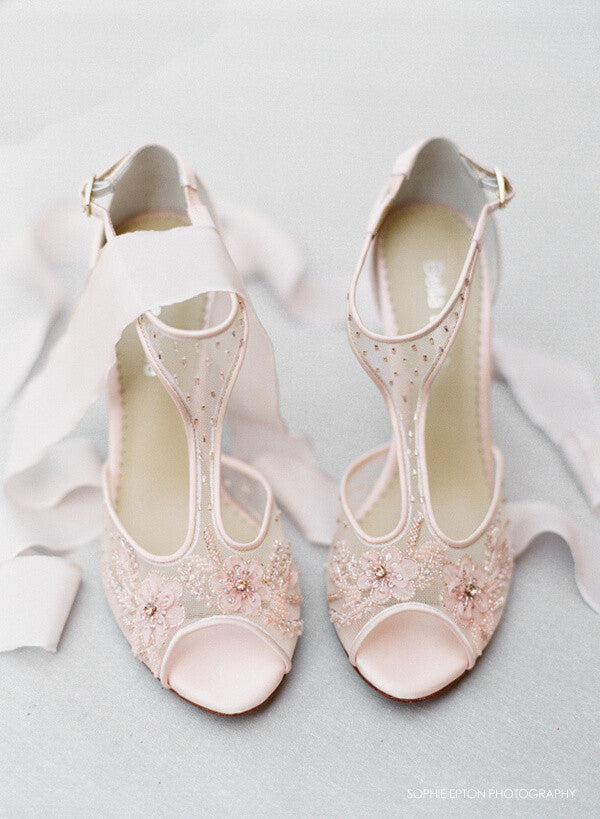 blush pink floral wedding shoes