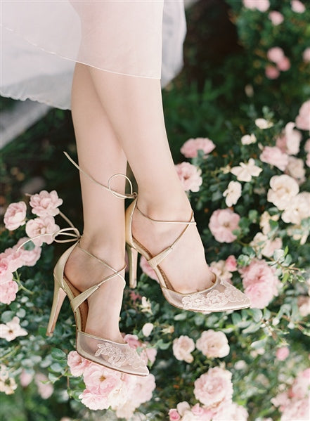 Bella Belle gold wedding shoe, wedding heel, Anita Gold, floral, classic, shic