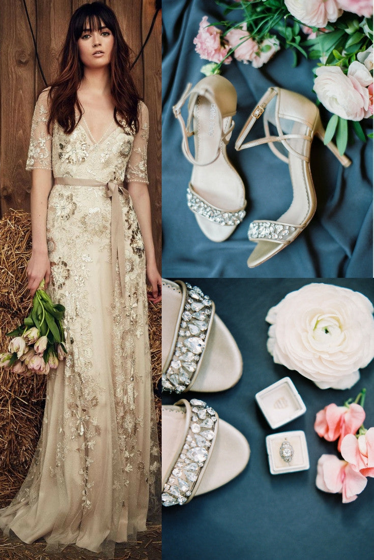 Bella Belle Wedding Shoes Filipa Champagne Glamour Vintage Rhinestone Crystal Romantic Fairy Tale Shoes and Jenny Packham Faith in Barley wedding dress