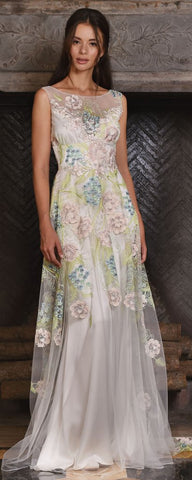Claire Pettibone Soft Boho Chic Look Maia Wedding Dress Pastel Floral Embroidery