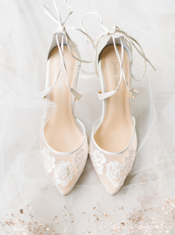 classic ivory lace wedding shoes