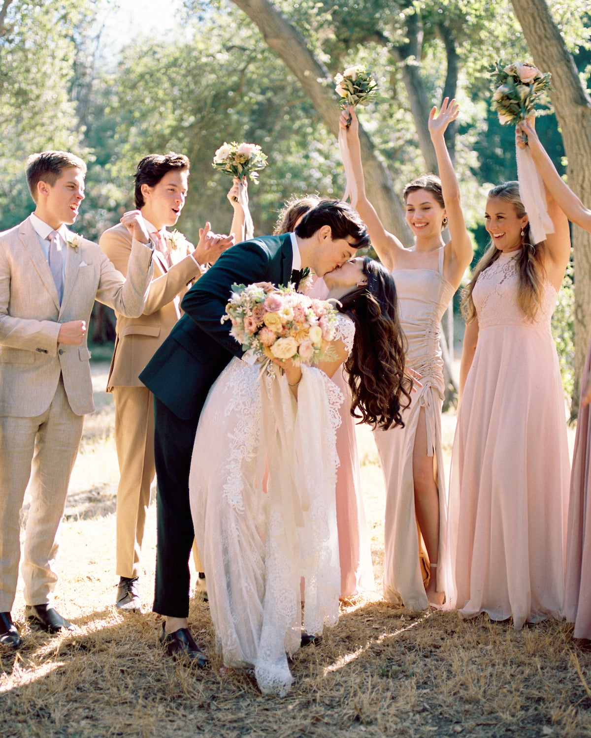 bella belle real bride duan with bridal party dylan and cole sprouse