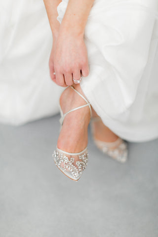 Florence sparkling crystal ankle strap white comfortable wedding bridal heel