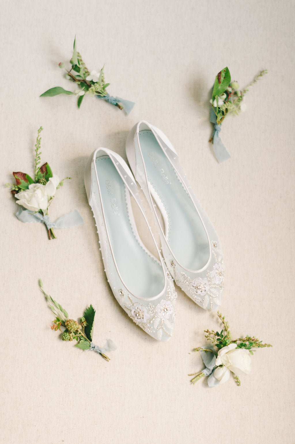Bella Belle floral embellished beaded Adora wedding flat