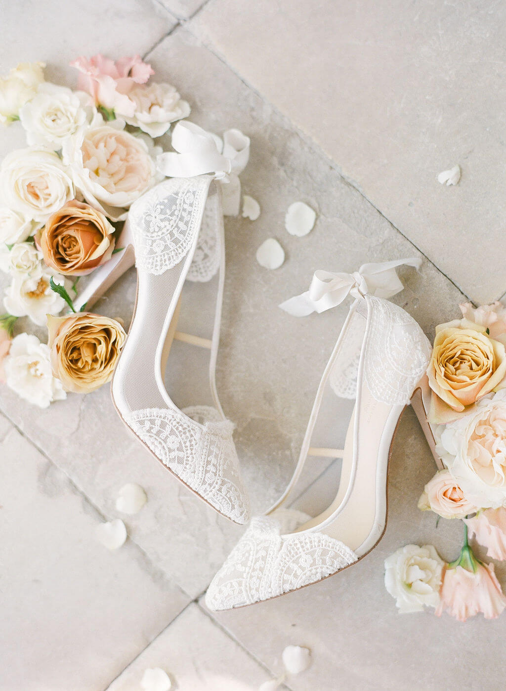bella belle lace white pumps bridal