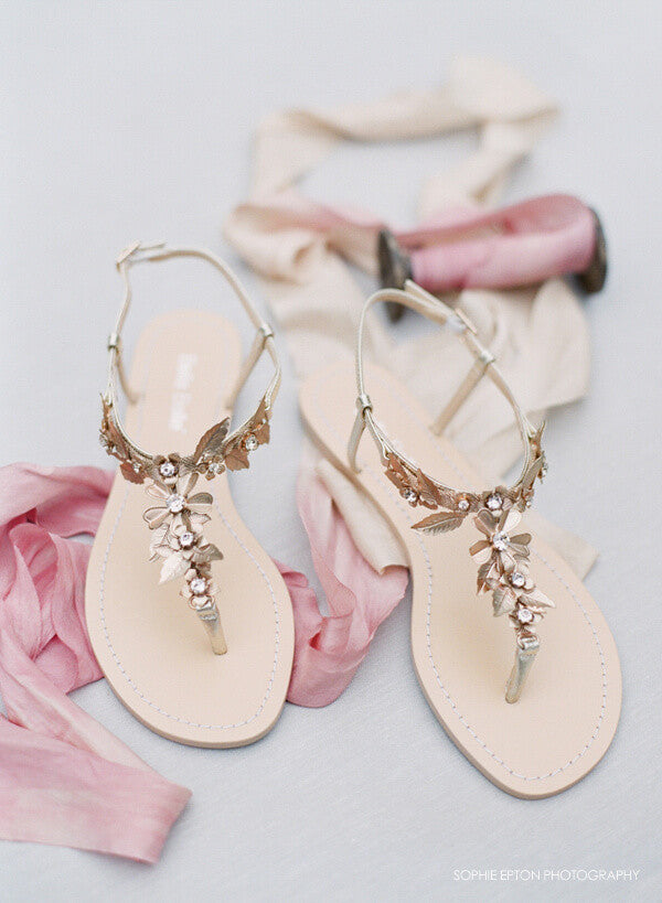 gold flower wedding sandals