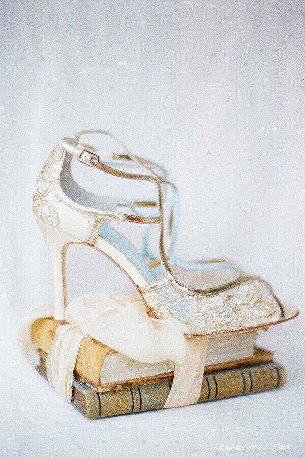 Gold embroidered lace wedding heels