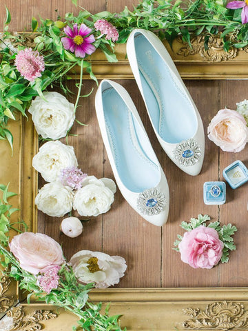 Wedding Flat Jackie is white, has a sparkly embellishment at the toes, perfect for the Jackie Kennedy lovers.