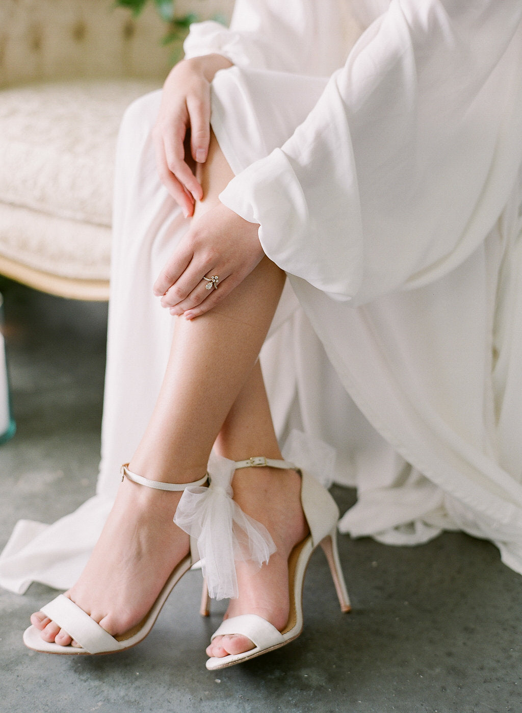 bella belle elise tulle bow ivory wedding shoe