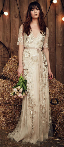 Jenny Packham Faith Barley Wedding Dress Beaded Boho Vintage Glam