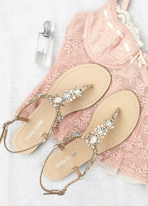 best gold jewel wedding sandals for brides