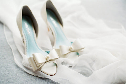 Bella Belle Shoes Julia Something Blue Satin Bow Pearl Sleek Modern Minimalist Elegant