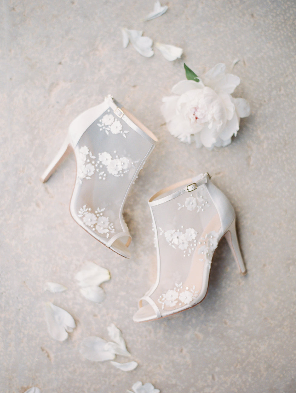 Bella Belle Wedding Shoe, Wedding Bootie, Wedding Heel, white, floral, 3D details