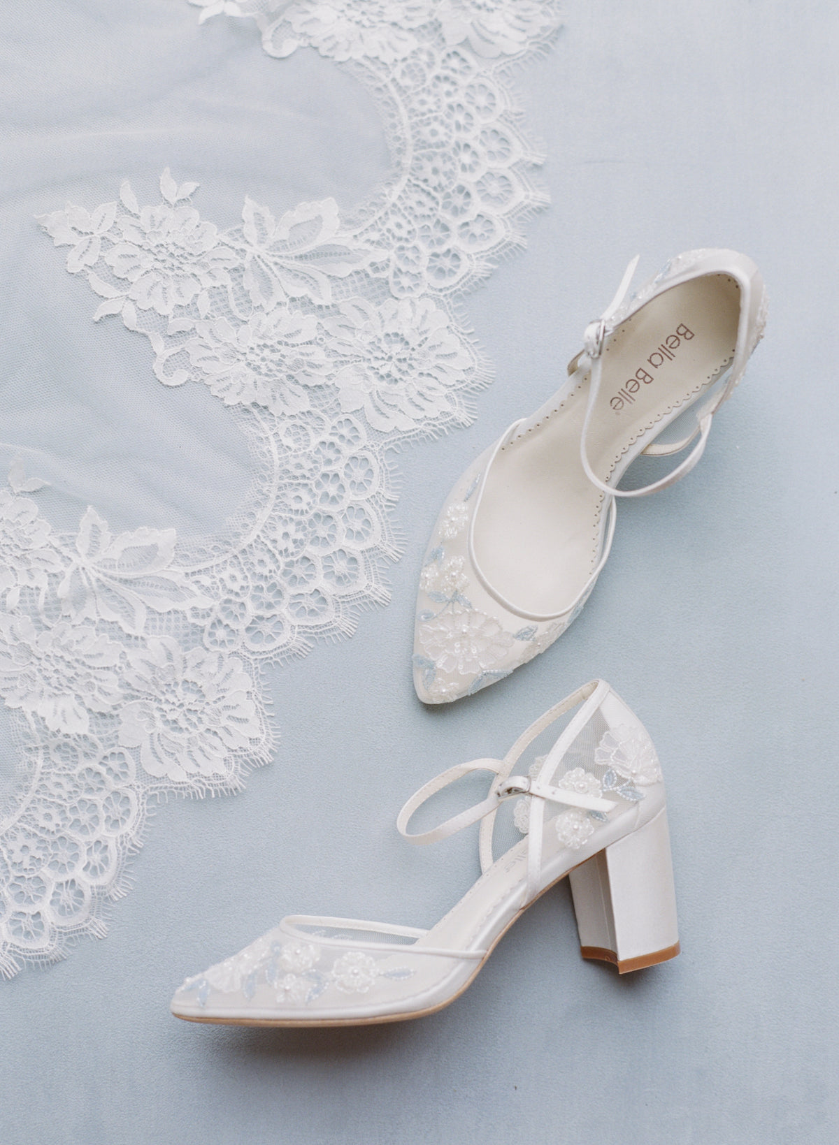 vivian baby blue lace wedding block heel