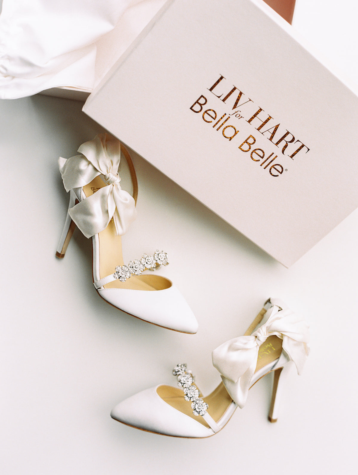 bella belle x liv hart olivia ivory with silk bow and jewel embellishments