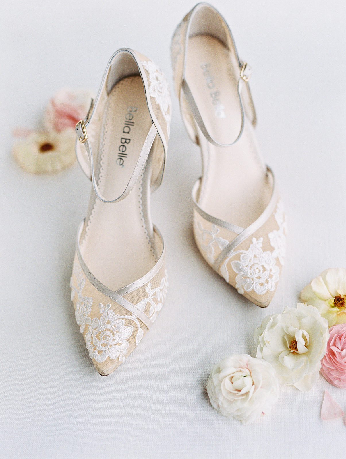 chelsea nude lace wedding block heel