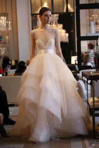 Monique Lhullier Aviva Blush Wedding Dress Tulle Layered High Neckline Long Sleeve Modern Fairytale Princess